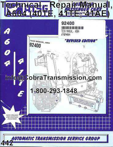 Technical - Repair Manual, A604 (40TE, 41TE, 41AE)