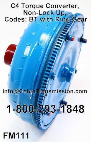 C4 Torque Converter, Non-Lock Up, Codes: BT with Ring Gear