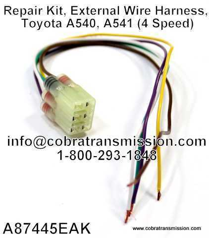External Wire Harness Toyota A540 solenoid, sensor , cobra transmission Toyota Wire Harness Repair Kit at webbmarketing.co