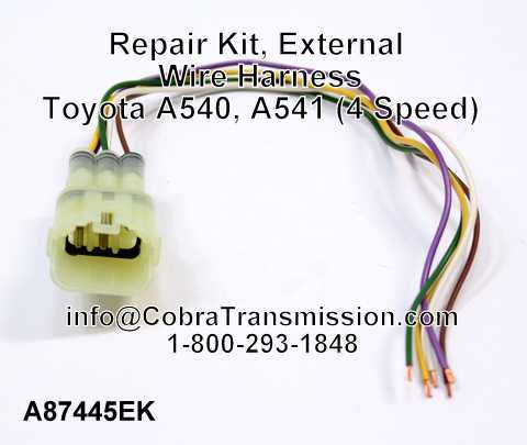 Repair Kit External Wire Harness Toyota A540 A541 4 Speed solenoid, sensor , cobra transmission Toyota Wire Harness Repair Kit at eliteediting.co