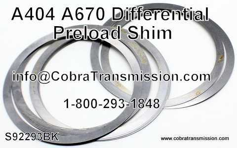 A404 - A670 Shim, Differential Preload